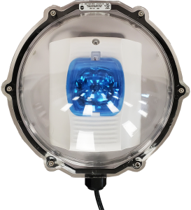 Outdoor IP Strobe with weather-protective dome and blue lens