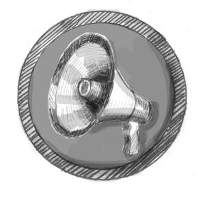 An icon with a drawing of a megaphone to indicate the extensive reach with a mass notification system.