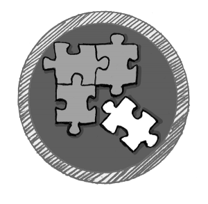 An icon with a drawing of puzzle pieces to match integration of platforms, software, and protocols.