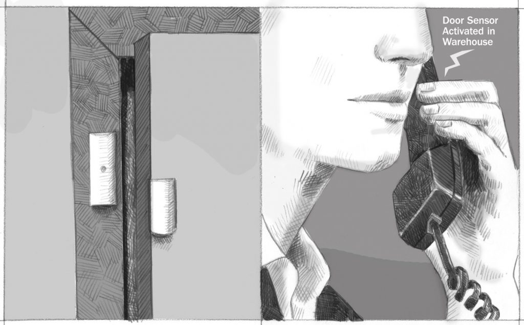 A contact closure activates on an open door. Someone holds a phone recording that says 'Door Sensor Activated in Warehouse.'