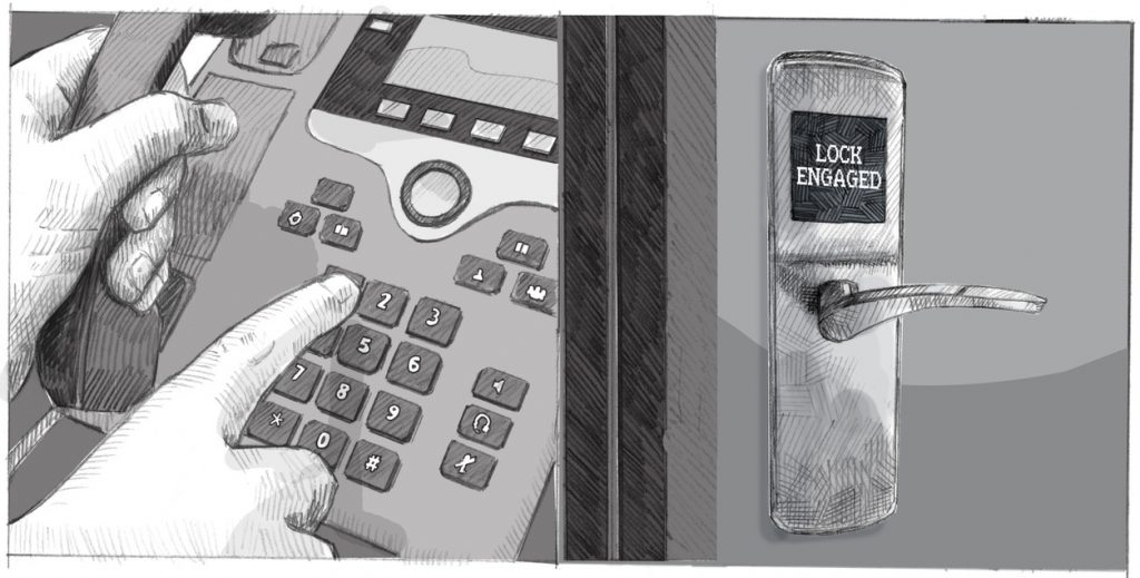 A hand dials on a phone, and an automated lock in another room becomes engaged.